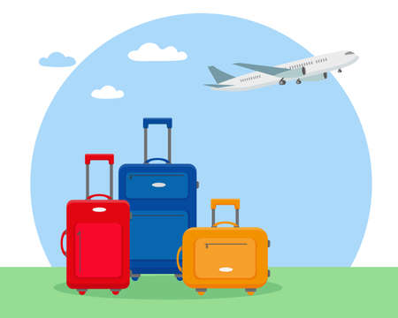 Three travel suitcases and plane in the sky. Time to travel or traveling by plane concept vector illustration. Illusztráció