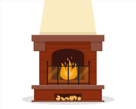 Classic brown fireplace with fire on white background. Vector icon illustration. Standard-Bild - 138476490