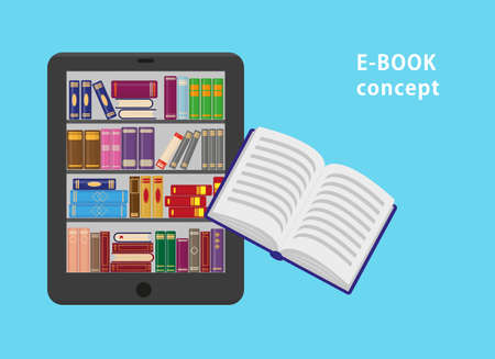 E-book with bookshtlves on the screen and one flying paper book. Flat vector illustration for e-book or online education design concept.