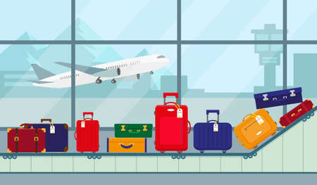 Airport conveyor belt with luggage bags for travaling. Terminal conveyor belt vector illustration in flat design.