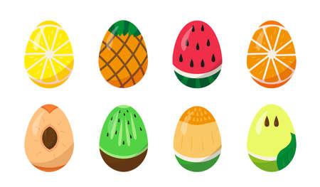 Set of Easter eggs painted like tropical fruit on white background. Vector illustration.