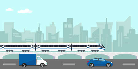 Urban landscape with buildings, passenger hight speed train on bridge and car on the road in city. Vector illustration.