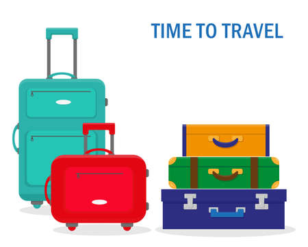 Travel suitcases isolated on the white background. Vector illustration.