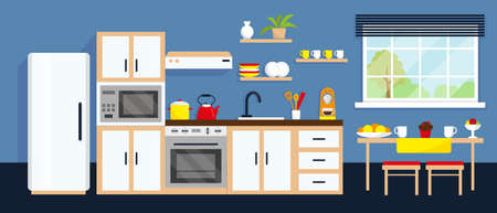 Kitchen interior with table, furniture, household appliances and window. Vector illustration.
