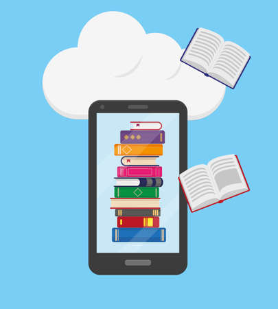 Flat vector illustration of online reading, learning or education concept. Stack of books into the mobile phone and flying books on blue background with big white cloud.