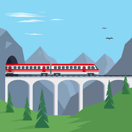Train on bridge in mountains. Travaling by train concept or banner vector illustration.