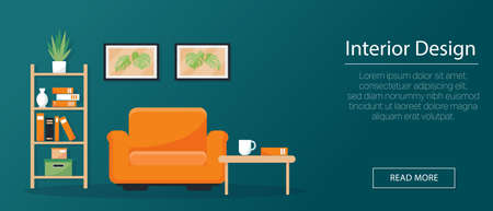 Interior design concept, banner or background. Armchair, bookshelf and pictures on the wall in flat style. Vetor illustration. Ilustración de vector