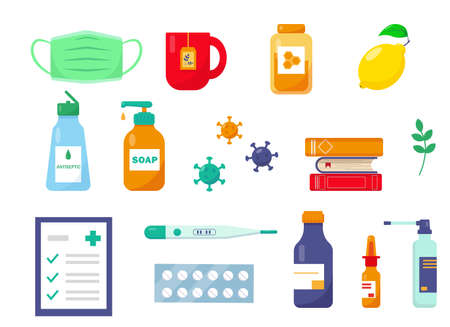 Flu or cold treatment set. Medication, recipe and cap of tea with honey for flu patient. Vector icons illustration.