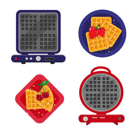 Waffle maker or waffle iron and fried waffles with berries ready to eat. Vector icons illustration.