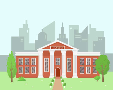 Museum building in the modern city. City landscape background vector illustration.