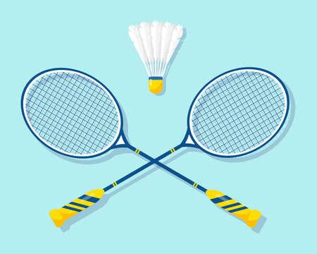 Badminton rackets and shuttlecock. Vector illustration of equipments for badminton game sport .