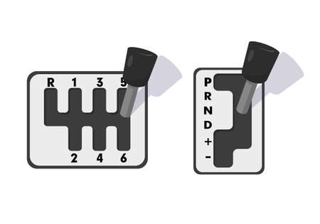 Automatic and mechanical gearbox. Icons vector illustration on white background.