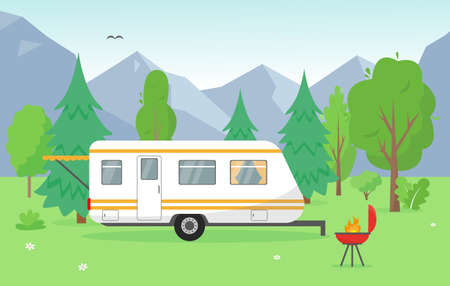 Camping trailer near mountains. Summer or spring landscape with travel mobile home and barbecue. Vector background concept illustration.
