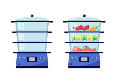 Empty steamer and steamer with food. Vector icon illustration.