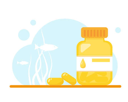 Fish oil capsules with packaging on blue sea background. Flat vector illustration.