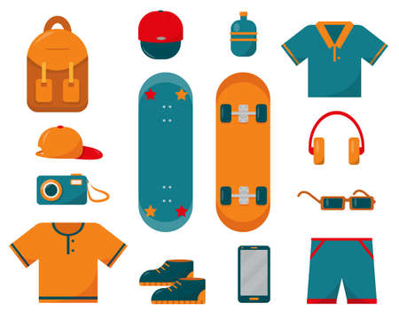 Set of skateboard, clothes and necessary things for sketeboarding. Flat vector icon illustration on white background.