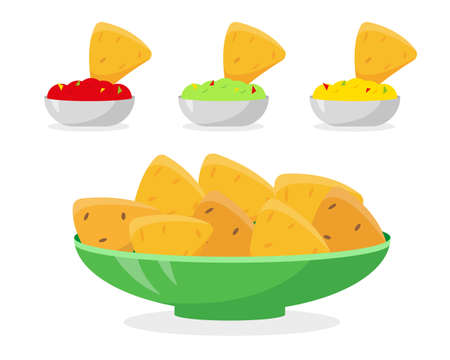 Mexican food vector illustration. Nachos in plate and different sauces for it. Tomato salsa, guacamole and cheese sauce with nachos chips on white background.