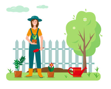 Young woman with flowers and gardening tools in the garden. Gardening concept design. Spring or summer banner or background vector illustration.