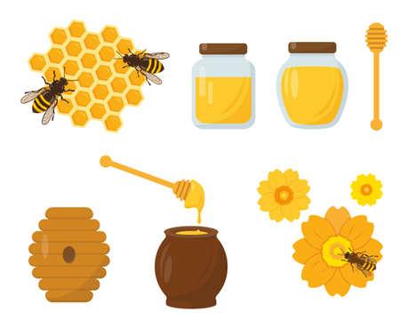 Set miele e apicoltura. Illustrazione di icone di vettore su priorità bassa bianca.