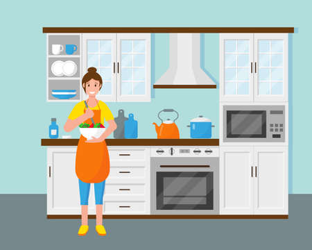 Woman in the kitchen are cooking salad. Housewife at home. Vector illustration. Ilustracja