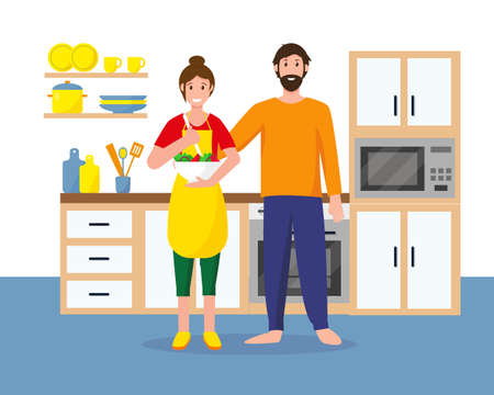 Man and woman in the kitchen are cooking. Housewife and her husband at home. Happy family and stay ot home concept. Vector illustration. Ilustracja