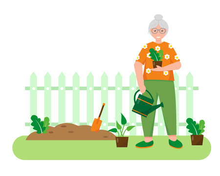 Old woman with plants and gardening tools in the garden. Gardening concept design. Spring or summer banner or background vector illustration.