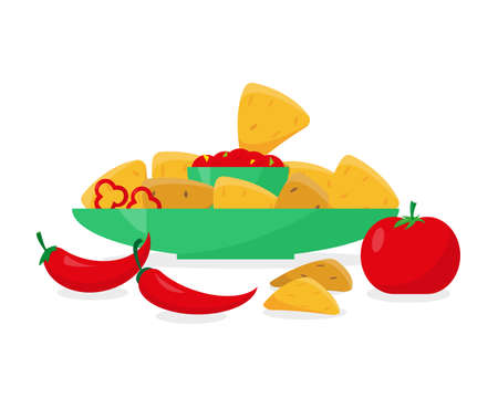 Mexican food vector illustration. Nachos in plate with tomato or pepper sauce on white background. Ilustracja