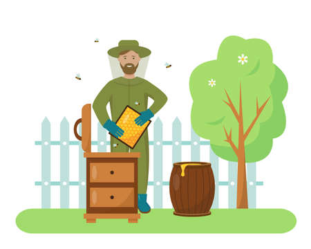 Beekeeper wearing protection suit with honeycombs and flying bees in the bee-garden. Beekeeping hobby summer concept. Vector illustration