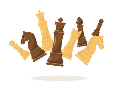 Fluing chess figures on white background. White and black chess set vector illustration. Collection of king, queen, bishop, knight, rook and pawn. Illustration