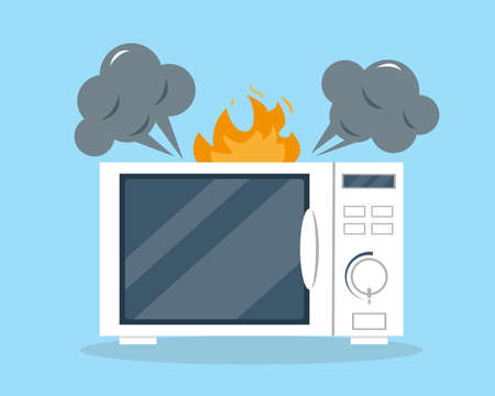 Broken microwave oven in flat style. Appliances vector illustration. Support or repair service concept. Vectores