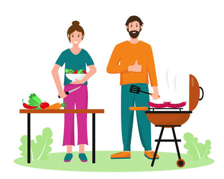 Man and woman cooking in garden or in park. Man with barbecue and woman with vegetables and salad on picnic. Spring or summer freetime concept, banner or background vector illustration. Vettoriali