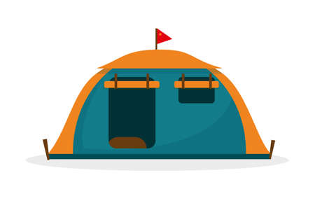 Tourist tent isolated on white background. Hiking and camping tent vector icons illustration.