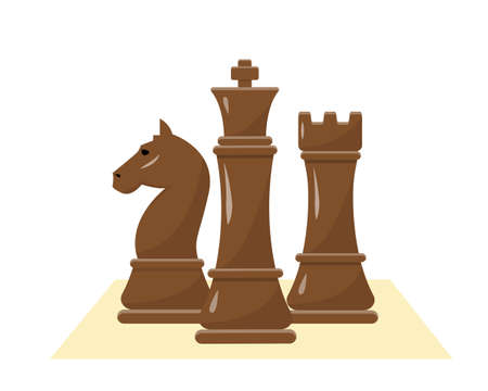 Black chess figures on white background. Collection of black king, rook and horse. Vector illustration. Illusztráció