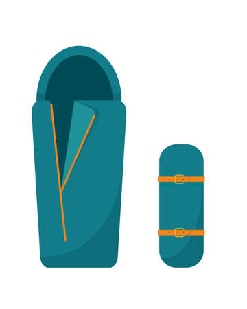 Camping sleeping bag. Tourist equipment for sleep. Flat icon vector illustration.