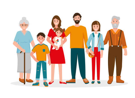 Happy family portrait. Three generation - grandparents, father and mother, children of different ages. Vector illustration on white background. Ilustración de vector