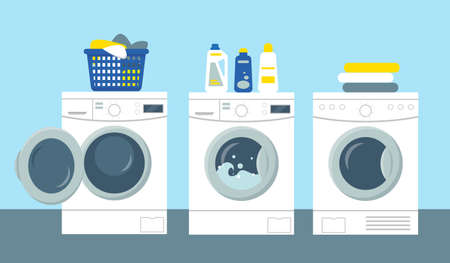 Washing and drying machines with powder and cleanser, basket with dirty clothes to wash. Flat vector illustration.