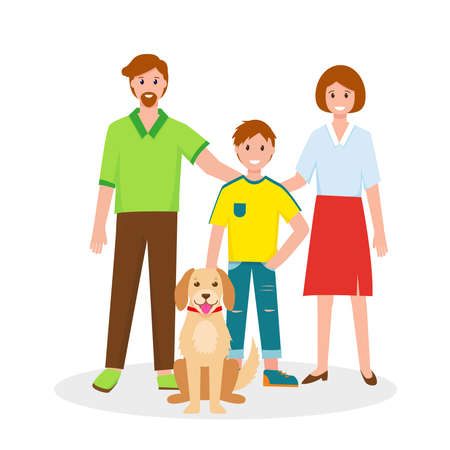 Happy family portrait. Father, mother, sun and big dog. Vector illustration on white background.