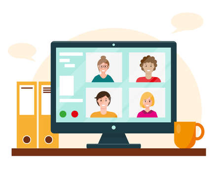 Video conference on the computer screen. People talk to each other online from home. Working or education online concept. Vector illustation.