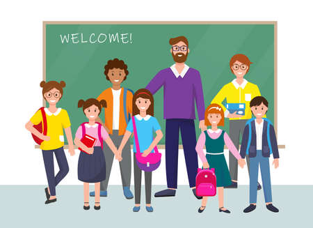 Group of pupils and teacher near school board. Back to school concept. Children with books and school bags. Smiling school boys, girls and man vector illustration.