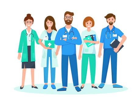 Doctors team wearing uniform. Medical staff characters with stethoscopes and folders. Vector illustration on white background. Medical consultation, support or insurance concept.