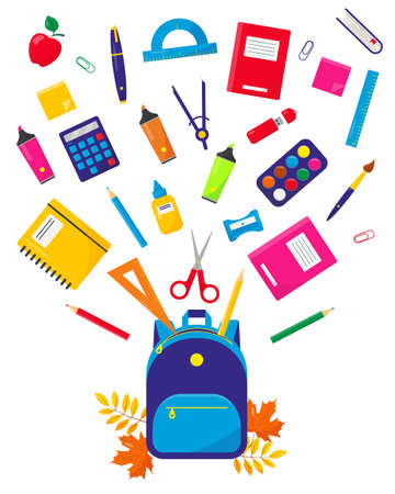 School backpack and flying suppliens set vector illustration on white background. Back to school concept. Educational or office equipment. 일러스트