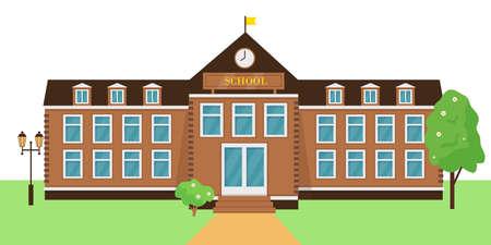 School building exterior vector illustration. Facade of school or colledge in city. Back to school concept.