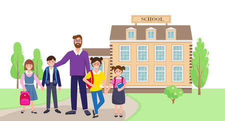 School building, pupils and teacher. Vector illustration. Back to school concept, banner or background.