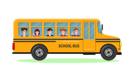 Yellow school bus with smiling pupils. Vector illustration on white background. Children ride to school. Back to school concept.