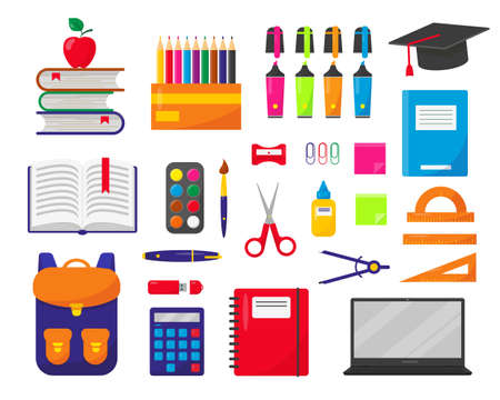 School backpack, laptop and supplies set vector illustration on white background. Elements for Back-to-school concept.