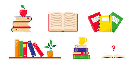Books set. Stacks of books, shelf and school notebooks. Vector illustration on white background. Back to school concept.