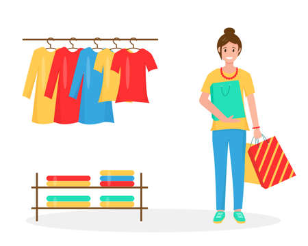 Smiling women with shopping bags. New clothes on hangerd in the store. Summer sales or shopping concept. Brigth vector illustration on white background. 矢量图像