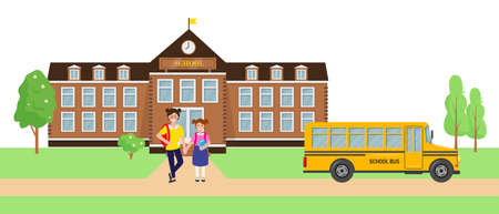 School children and bus near school building. Pupils with backpacks going to school. Vector illustration. Back to school concept.