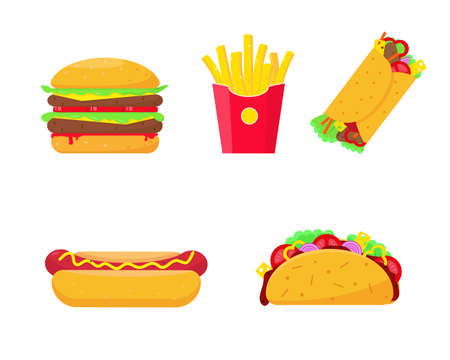 Fast food set vector illustration on white background. Burger, fries potato, hot dog, burrito and tako icons. Fast or unhealthy food elements.