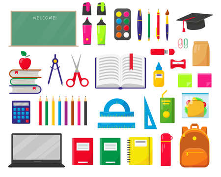 School supplies, backpack, lunch box and school black board on white background. Back to school concept. Set vector illustration. Vector Illustration